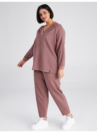 Faik Sönmez  V Yaka Uzun Kollu Sweatshirt 61813 Kırmızı